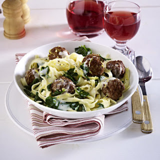 Meatball Tagliatelle with Gorgonzola and Spinach Sauce