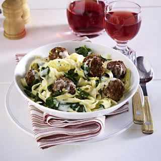 Meatball Tagliatelle with Gorgonzola and Spinach Sauce.