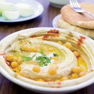 Israeli Hummus with Paprika and Whole Chickpeas.
