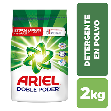 Detergente En Polvo Ariel Doble Poder Para Lavar Ropa Blanca Y De Color 2 kgDetergente Ariel Aroma