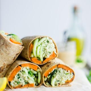 Vegan Mint Grilled Sweet Potatoes with Tahini Cauliflower Rice Wrap