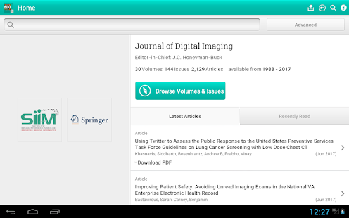 Journal of Digital Imaging- screenshot thumbnail