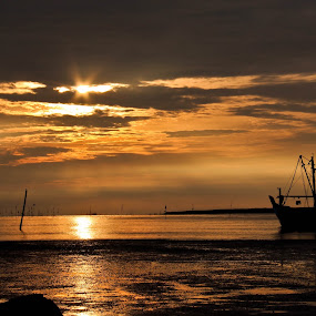 Twilight Fisherman by Sham Cool - Landscapes Sunsets & Sunrises ( sabak bernam, malaysia, twilight fisherman, beach, landscape )