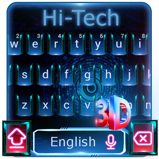3d neon blue red keyboard time travel future