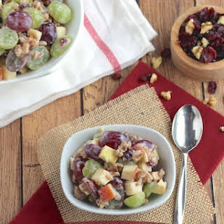 Hearty Fruit and Nut Salad with Greek Yogurt Dressing.