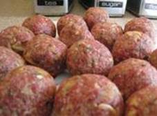 Mix first 5 ingrediends and shape into bite size balls. Bake in 375 degree oven...