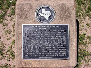 Photo: Grave marker in the Santa Ana Cemetery of Thomas. W. Jones (c. 1827-1853), assistant surveyor of the U.S. Mexico boundary survey party, who drowned in the Rio Grande near this site.