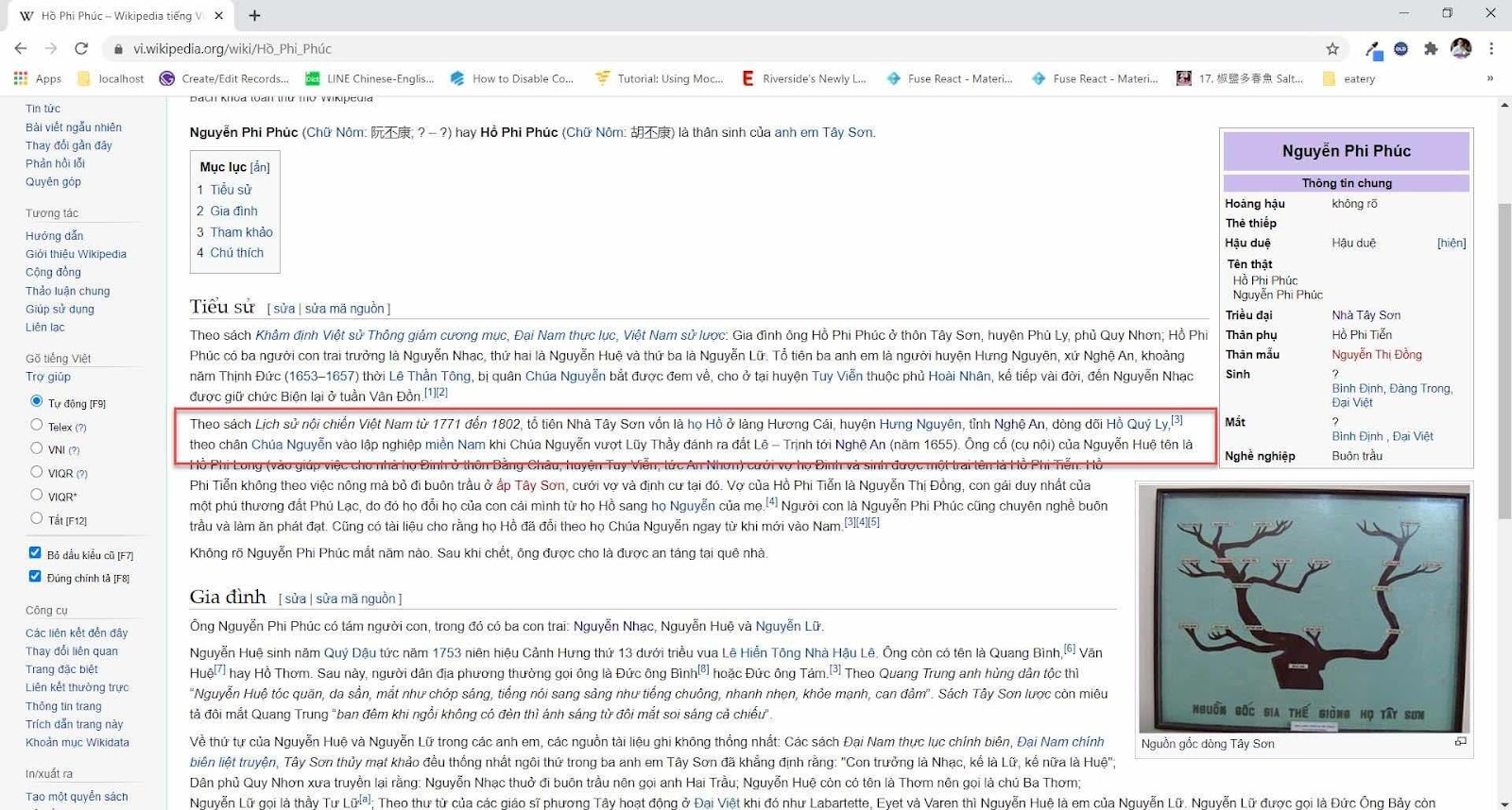 Về Wikipedia tiếng Việt viết sử ông Hồ Phi Phúc, ông tổ nhà Tây Sơn, xạo thế đấy