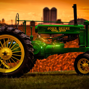 John Deere by Eugene Linzy - Uncategorized All Uncategorized ( farm, barn, cornfield, silo, tractor, corn )