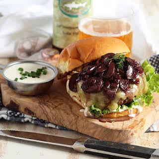 Beef Bourguignon Burger with Horseradish Creme Fraiche.