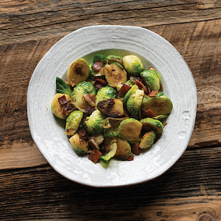Vegan Brussels Sprouts with Bacon and Shallots
