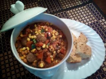 hot southern chunky chili with black eyed peas.