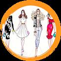 Fashion design sketches icon
