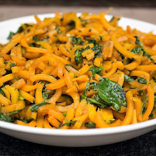 Spiralized Butternut Squash with Balsamic Butter Sauce.