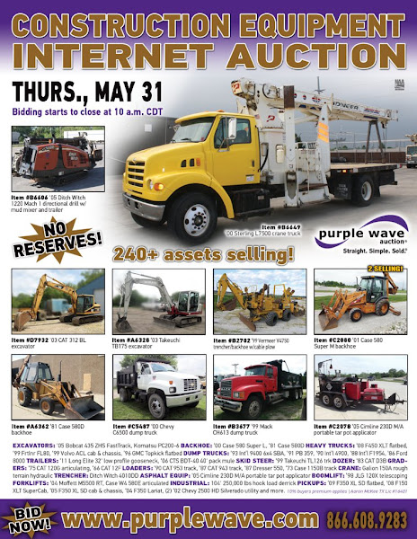 Photo: Construction Equipment Auction May 31, 2012 http://purplewave.co/120531