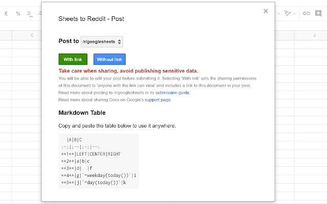 Sheets to Reddit Table - G Suite Marketplace