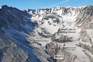 Photo: This photo shows the two lobes just as they were starting to converge a few years ago. The east lobe now spills over (icefall) into the Loowit drainage. (Photo courtesy of http://komincents.wordpress.com)