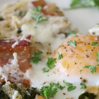 Sheet Pan Breakfast with Kale, Bacon and Hash Brown.