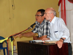 Photo: Brother Merle ministering at Heri Kedua village church Tuesday eveningwithPastor Richard as his interpreter.