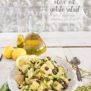 Olive Oil Potato Salad with Raisins, Lemon and Dill.