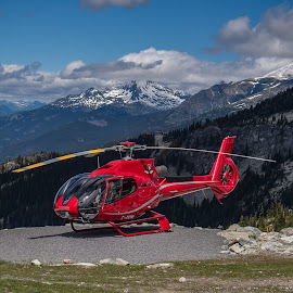 Let's go sightseeing! by Ruth Sano - Transportation Helicopters ( red, canada, helicopter, snow, whistler, gondola, transportation )