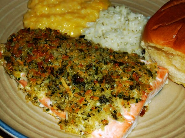 Salmon With Crispy Herb Topping Recipe