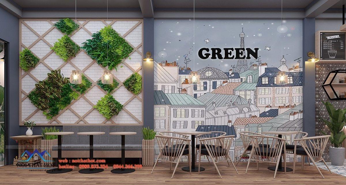 thiết kế quán trà sữa green 6