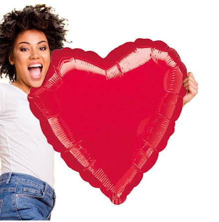 Folieballong, hjärta röd XXL 77cm