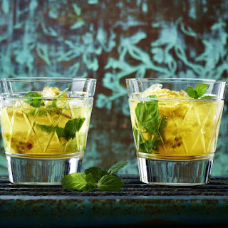 Tea Cocktail with Rum, Passion Fruit and Mint.
