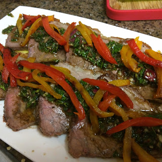 Chimichurri beef with roasted red peppers (Low carb, gluten & dairy free)