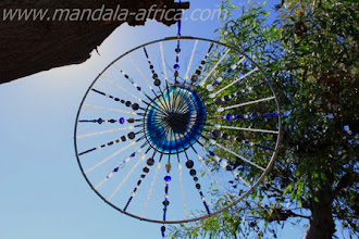 Photo: TEMPLE SHIELD - Detail Blue Agate (centre),  Labradorite, Clear Quartz Hematite, Aquamarine, Opalite, Sodalite, Opal glass Pietersite, clear blue glass beads, pearl blue glass beads,  white glass beads