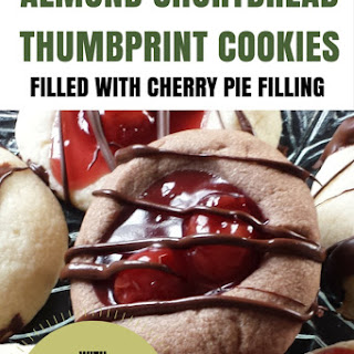 Almond Shortbread Thumbprint Cookie filled with Cherry Pie Filling