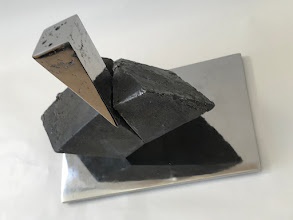 Photo: WEDGE IMPACTING RHOMBOHEDRON - 10H X 12W X 7D Lost Foam Iron Casting (as-cast and polished) and Polished Steel, Collaboration with Marilyn Block Ugiansky (Rear View 2)