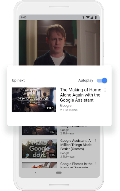"A Google phone screen that shows Autoplay in the on mode and a thumbnail for the YouTube video ""The Making of Home Alone Again with the Google Assistant."""