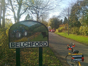 Photo: Eastern approach sign to Belchford with modern tractor and cows and dinnertime brings the mail..