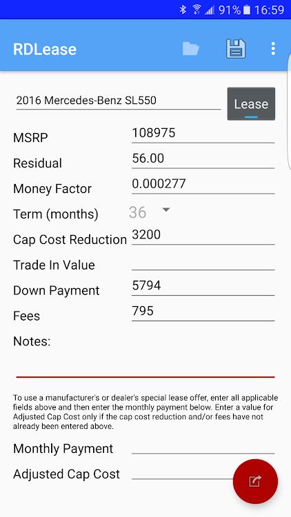 Car Lease Calculator >> Rdlease Car Lease Calculator Android Aplikasi Appagg