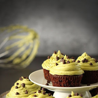 Double Chocolate Cupcakes with Matcha Buttercream Frosting