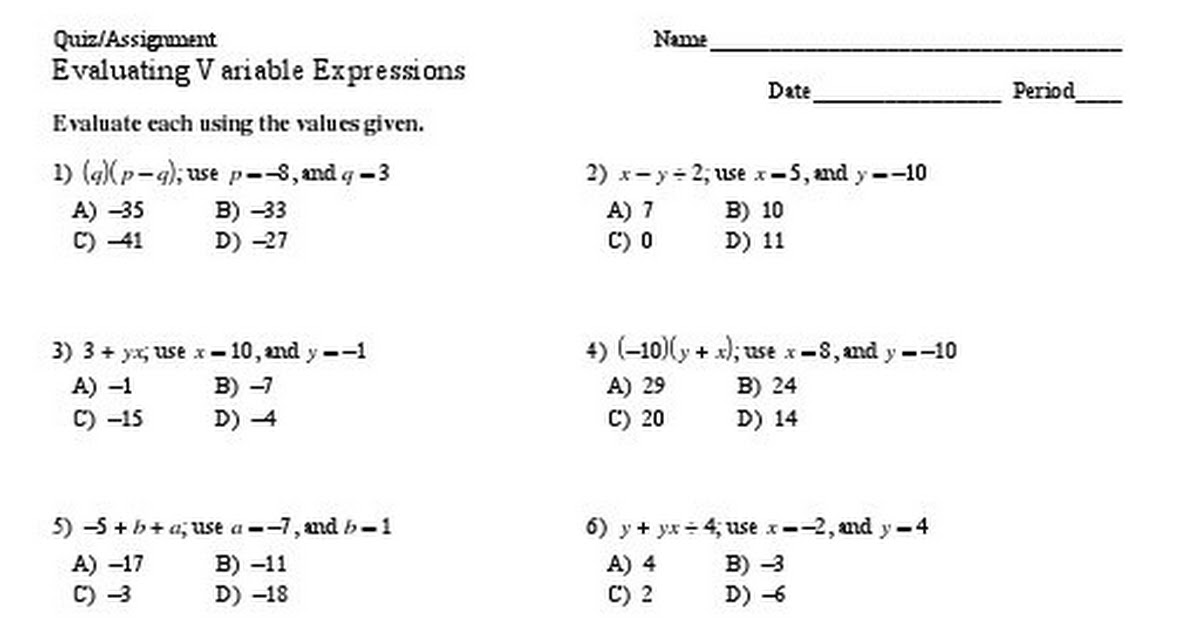 Evaluating Variable Expressions (20 Multiple-Choice Questions Quiz+ ...