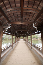Photo: Looking down the bridge in the gardens of the Heian shrine