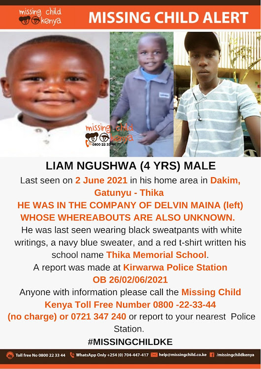 Missing child poster for Baby Liam Ngucwa Mwangi who has been rescued by DCI.