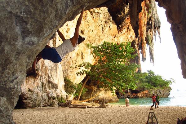 Bouldering at Phra Nang Cave Beach