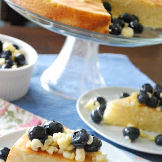 Sweet Corn Cake with Blueberry Lavender Compote.