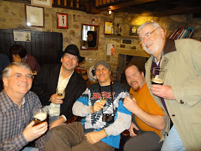 Photo: L-R: Hamp Covington, Coby Glass, Spike Buckowski, Russ Yates and Bob Pike get into the spirit of things at Theakston's Old Brewery in Masham, UK.