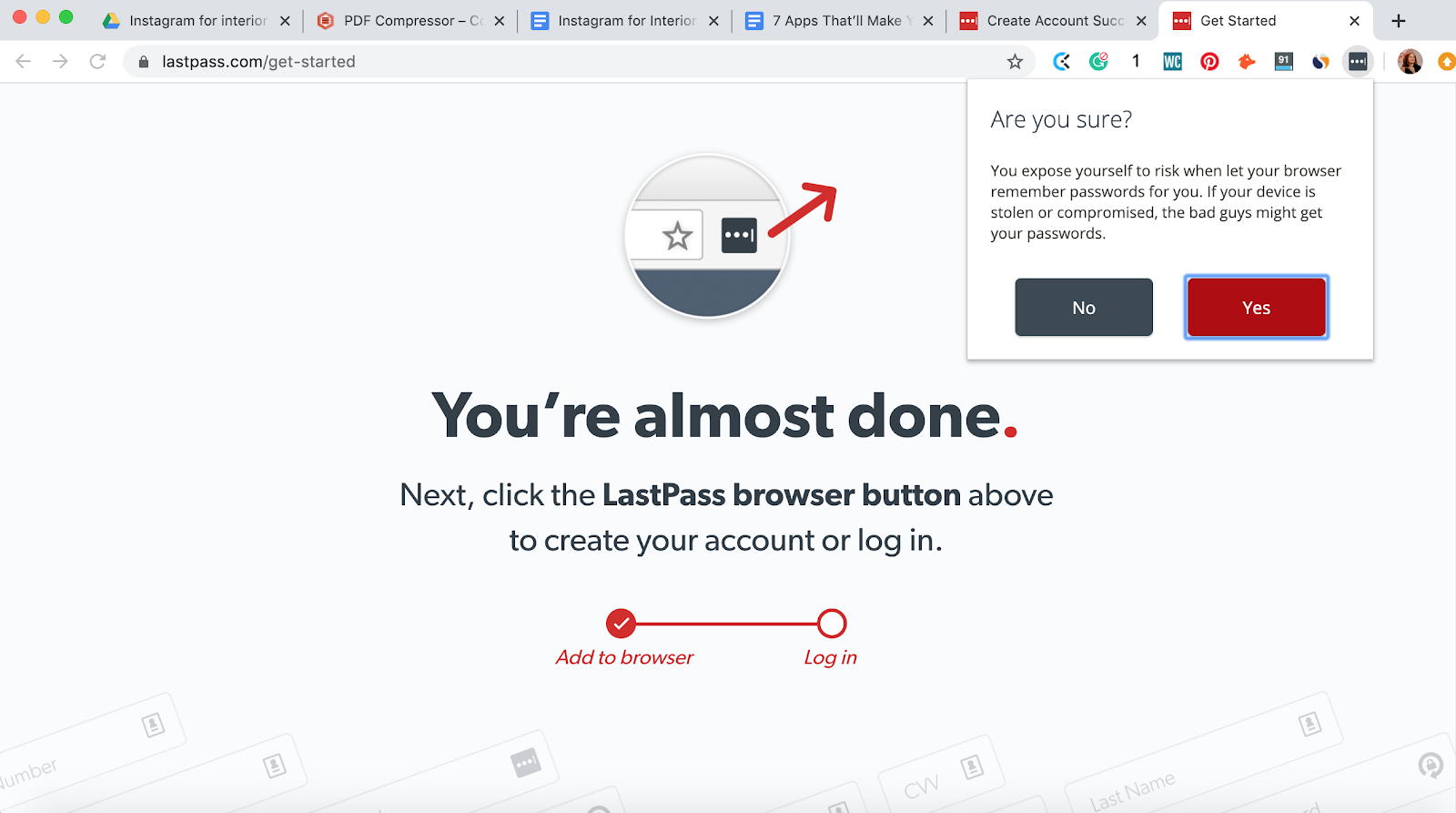 Saving login details to your LastPass password manager in Chrome browser extension. Part of the article by Hana Clode Marketing 'LastPass Password Manager - Apps to Make Your Life Easier'.