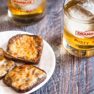 Retro Parmesan Toasts & Rusty Nail Cocktail.