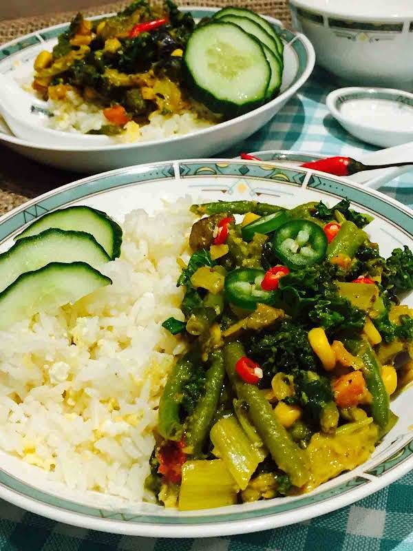 Vegetarian Thai Curry On Egg-fried Rice Recipe