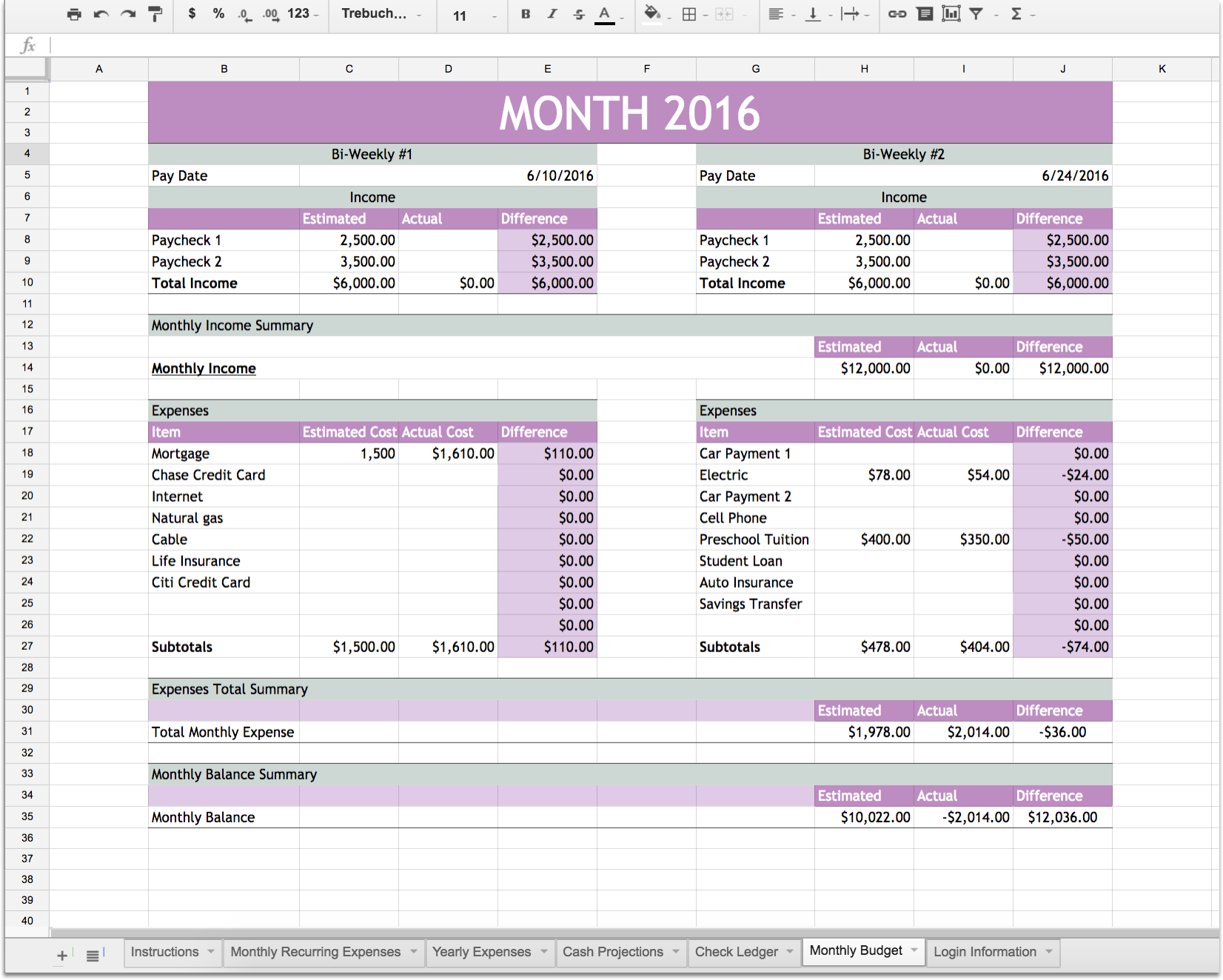 Easy Budget and Financial Planning Spreadsheet for Busy Families – Financial Planning Worksheets