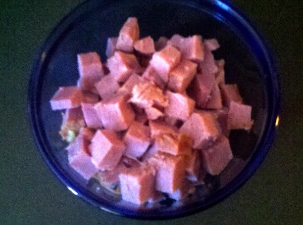 Prepare Ham:  You can buy ham already cut into cubes from your deli...