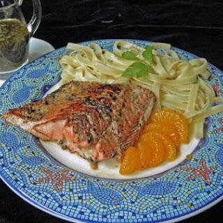 Orange Balsamic Salmon Over Pasta.