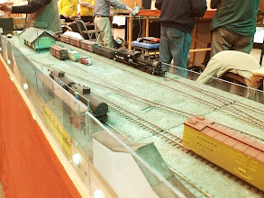 Photo: 009 The developing station area at Crock, (basking in the pale green sunshine) on Peter Martin's HOn3 layout .